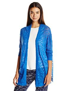Kensie Womens Fine Gauge Slub Open Cardigan True Blue XSmall -- Continue to the product at the image link.(This is an Amazon affiliate link)