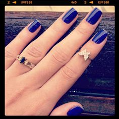 Love the nail color and the rings