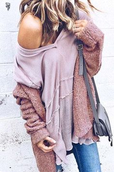 Dusty rose shades layered together for an easy yet chic winter outfit.