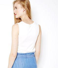 Women's embroidered tank top Craie TL - Tee shirt Womenswear Camaieu