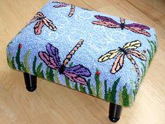 hand hooked dragonfly stool Susan Ferraro