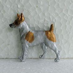 Tenterfield Terrier Tan White Brooch Dog Breed Jewellery Resin Handpainted