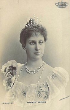 Louise of Sweden's daughter, Ingeborg, had several lovely tiaras of her own, this one looking like a rather sparse fringe tiara.