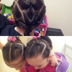 over n under pulled back into ponytail and second day same over n under and braids on side