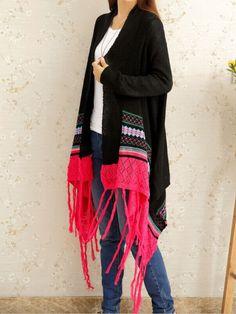 shop black geometric print tassel cardigan online shein offers black geometric print tassel cardigan