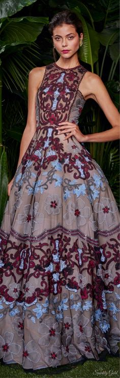 Naeem Khan ~ Resort Grey & Burgundy Applique + Embroidered Maxi Dress 2016