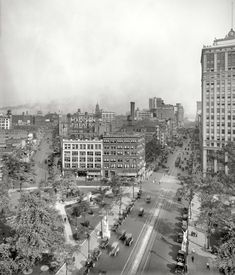 """Detroit circa 1919. """"View of Madison Theatre and Woodward Avenue."""" Now playing: """"Choosing a Wife"""" and Fatty Arbuckle in """"A Desert Hero."""" 8x10 inch dry plate glass negative, Detroit Publishing Company."""