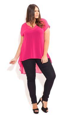 City Chic - HI LO V NECK TOP - Women's plus size fashion