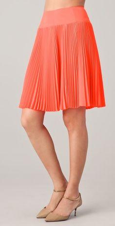 Nanette Leport Pleated Skirt, coral