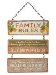 George Home Lemon Family Rules Hanging Sign