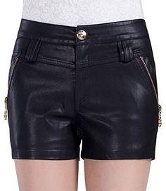 Cutesan Women's Straight-cut Shorts in Faux Leather - http://www.darrenblogs.com/2016/12/cutesan-womens-straight-cut-shorts-in-faux-leather/