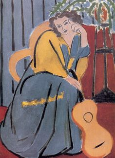 Woman in Yellow and Blue with a Guitar, 1939, by Henri Matisse (French, 1869–1954).