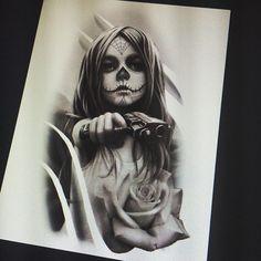 Girl Gun Tattoos, Girl Face Tattoo, Bear Tattoos, Arrow Tattoos, Chicano Art Tattoos, Gangsta Tattoos, Horror Artwork, Skull Artwork, Pirate Ship Tattoos