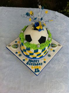 Football and Fosters mens cakes Pinterest Cake Birthday