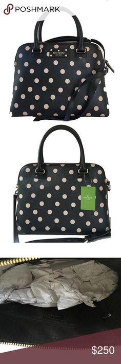 "🌴FINAL PRICE🌴Kate Spade Rachelle Wellesley Bag Kate Spade Rachelle Wellesley Printed Beige Polka Dots Satchel/Handbag. Features detachable/adjustable strap, leather material, top zip closure, interior pockets, 14 K light gold plated hardware, handle drop @4.5"", max drop of strap is 20"", measures 12.75"" L x 9"" H x 5"" W. no dustbag, NWT, care card included.                            🐣n o • t r a d e s🐣                    s m o k e • f r e e • h o m e             s a m e/n e x t • d a y •…"