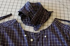 Introduction / tips: How to cut up a man's shirt to yield the most square inches of useable fabric for patchwork. Her example uses a mens' MEDIUM so you can see how much can be salvaged even from a smallish shirt.