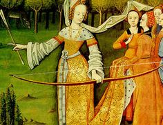 medieval archery.  But how do her sleeves not get caught in the bow?