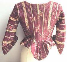 Back seams meet sleeve seams Caraco 1780, schwäbische Tracht