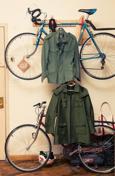 Combo bike and outerwear storage.