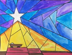 Nativity Star of Light Art Lesson for kids - Leah Newton Art Advent Art Projects, Christmas Art Projects, Winter Art Projects, School Art Projects, Christmas Crafts, Christmas Printables, Christmas Art For Kids, Christmas Tree Art, Christmas Artwork