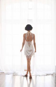"""Купить """"Искушение нежностью"""" - нежная сорочка с кружевом - белый, однотонный, утро невесты, фотосессия невесты"""