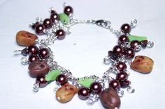 Woodland Owl and Leaf Bracelet with Wire Wrapped Glass Pearl | Wyverndesigns - Jewelry on ArtFire