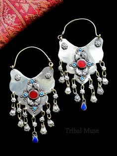 These large contemporary Turkmen (Turkoman) Tribal Earrings capture the essence of ancient jewelry. Selection of stone colors (Price is for one pair).