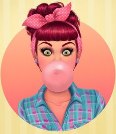 ♥Bex!!♥  Red Hair Cartoon Pinup, Rockabilly, Pinup Bombshells, Head Scarf, Pinup blowing bubble