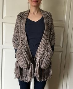 Easy womens scarf pattern crochet wrap pattern easy boho crochet shawl with pockets and fringe shawl pattern crochet for women pdf diy Boho Crochet, Crochet Scarves, Crochet Clothes, Crochet Wrap Pattern, Easy Crochet Patterns, Crochet Stitches, Easy Crochet Projects, Scarf Patterns, Knitting Patterns
