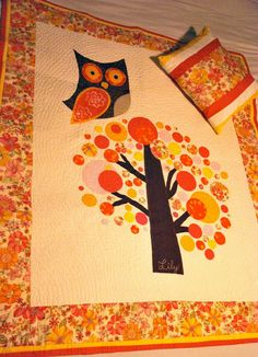 Owl Quilt - the circle leaves are interesting