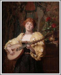 Pierre-Charles Comte (1823-1895), La Jolie Joueuse de Mandoline.