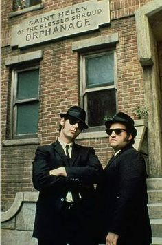 """The Blues Brothers"" (1980) Directed by John Landis. Dan Ackryod as Elwood and John Belushi as ""Joliet"" Jake"
