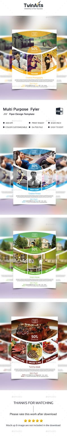 Multipurpose Flyer — Photoshop PSD #fitness #stationery • Available here → https://graphicriver.net/item/multipurpose-flyer/15715814?ref=pxcr