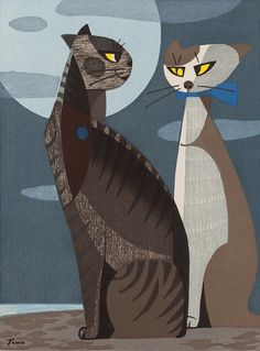 "Tomoo Inagaki (Japan, 1902-1980) - ""Cats in the Moonlight"", 1966 - Woodblock print"