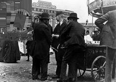 Funfair on Market Street, Kidderminster, 1900 (b/w photo)