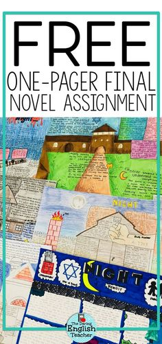FREE Assigning a literary one-pager project is the perfect way to wrap up a novel study in the middle school ELA or high school English class. Middle School Ela, Middle School Health, Middle School Classroom, Middle School English, Middle School Novels, High School Reading, Classroom Rules, Classroom Ideas, Ela High School