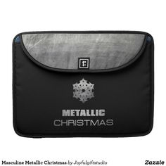 Shop Masculine Metallic Christmas MacBook Pro Sleeve created by Joyfulgiftstudio. Macbook Sleeve, Macbook Pro 13, Spice Things Up, Laptop Sleeves, Metallic, Electronics, Christmas, Black, Xmas