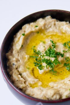 Baba Ghanoush I love, love baba ghanoush but have to be careful about making sure there is no eggplant skin in it because I'm allergic to it, you see.