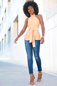 Asymmetric Wrap-Around Halter Top + Ankle Length Jeans