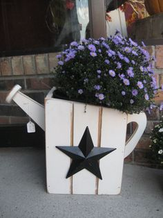 Watering Can Planter Box Wood