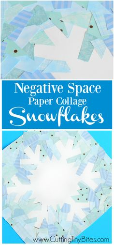 Winter snowflake craft to demonstrate the idea of negative space.  Made with paper collage, this activity is great for fine motor development and spatial skills in elementary aged children.