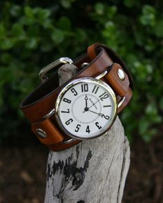 Big and Bold Deep Brown Leather Watch for Men and by CreativeUrges. $62.00 USD, via Etsy.