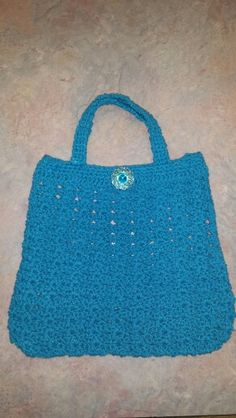Blue Crochet purse. Cotton yarn.