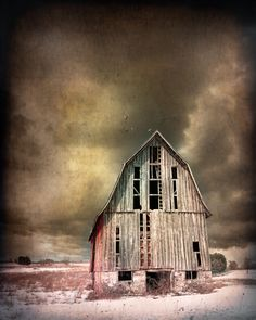 Old barn and storm