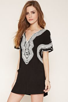 Embroidered Shift Dress | Forever 21 - 2000152975