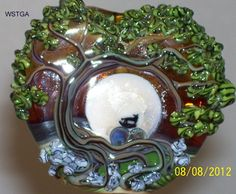 WSTGA~WOLF IN THE MOONLIT MEADOW~TREE handmade lampwork glass bead focal SRA