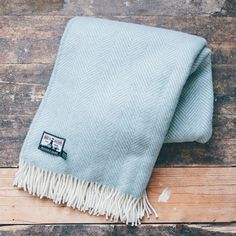watershed newquay fistral wool blanket pale blue