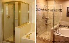 Possible shower transformation for down the road. Knock down the full wall and just put half a glass wall