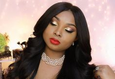 Classic Prom Make up tutorial -Gold eyes and Red Lips