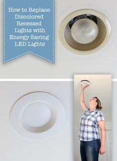 How to Update Ugly Recessed Can Lights with Energy Efficient LED Lights - a full photo tutorial on how to replace these old lights by Pretty Handy Girl. Recessed Can Lights, Kitchen Recessed Lighting, Pot Lights, Retrofit Recessed Lighting, Deco Led, Reno, Living Room Lighting, Home Repair, Houses